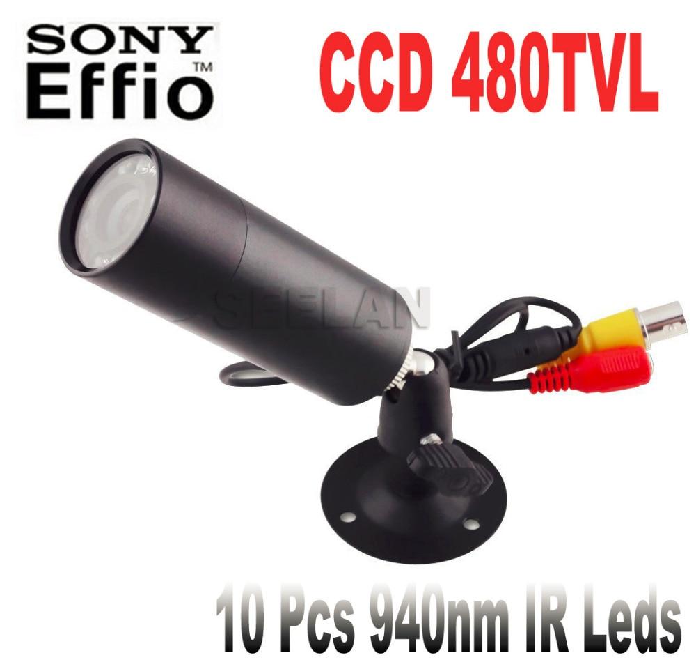 ФОТО 480TVL CCD Mini Bullet Outdoor Invisible 10pcs IR 940NM 0 lux Night Vision camera CCTV mini Camera with 1/3