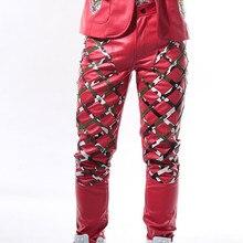 Новый Fashoin 3 вида цветов мужчин рок DS Панк Тонкий повседневные штаны DJ певец костюм мужской новинка Камуфляж с заклепками кожаные штаны