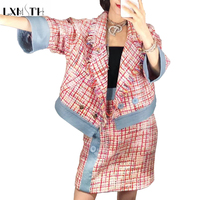 LXMSTH 2019 Autumn Womens Tweed Suits Runway Skirt Sets for Women Two Piece Plaid Set Button Short Tassel Jacket + Mini Skirts