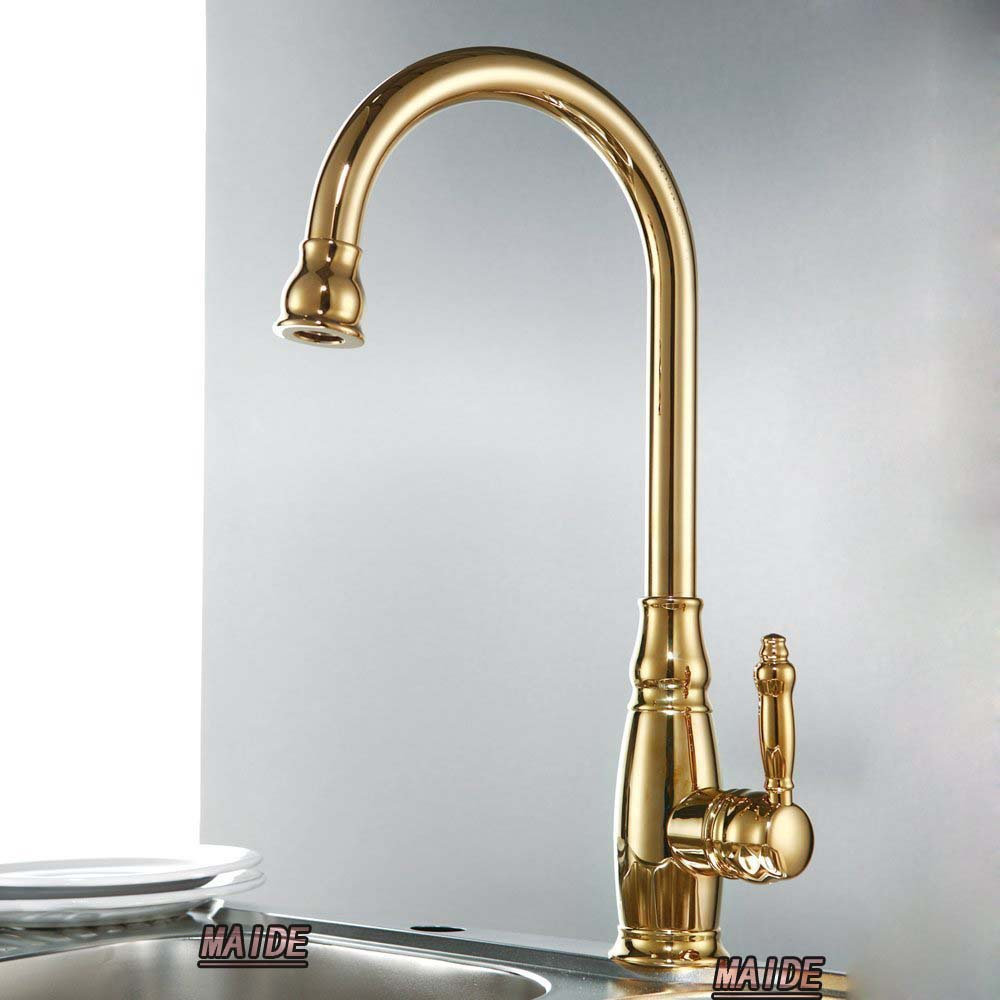 solid brass construction classic single handle high arc gold kitchen sink faucet with swivel spout titanium gold - Kitchen Sink Titanium