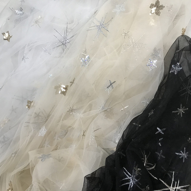 1 Meter lot Width 130cm Hot Stamping Star Tulle Fabric Glitter Mesh Organza  for Dress Party Skirts Wedding Decoration Material 394d595a6247