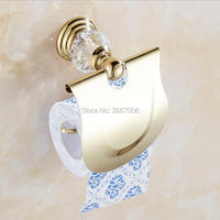 Free Shipping 2 Pcs Promotion Wall Mounted Gold Plating Toilet Roll Paper Holder Crystal Tissue Box
