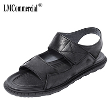 Genuine Leather mens Sandals summer fashion casual Roman sandals male outside anti-skid beach shoes gladiator