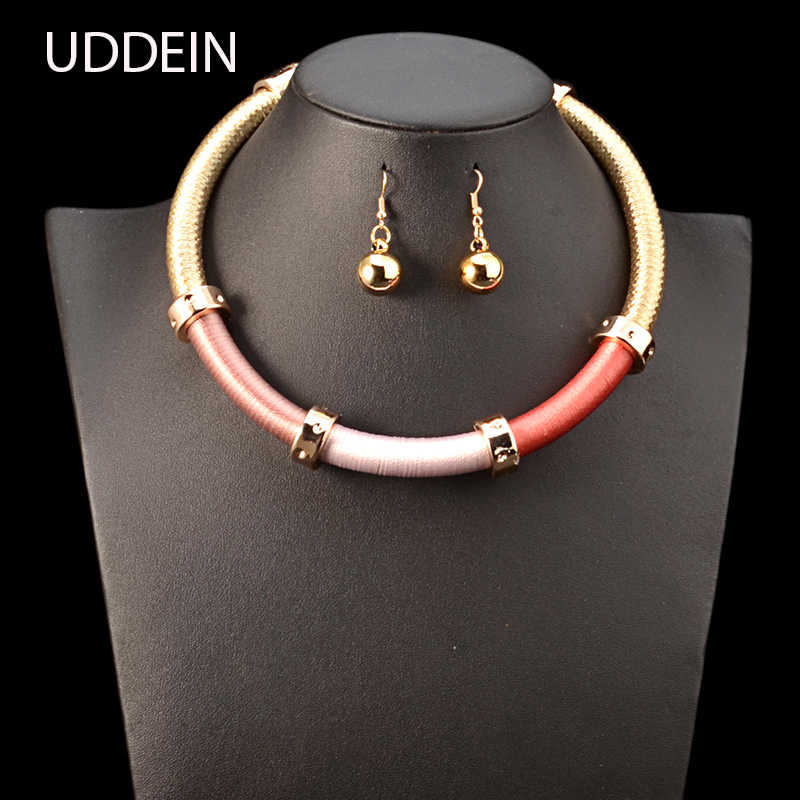 UDDEIN Lace Chain Vintage Statement Choker Necklace For Women Bohemian Torques Maxi Necklace Chokers African Beads Jewelry Sets