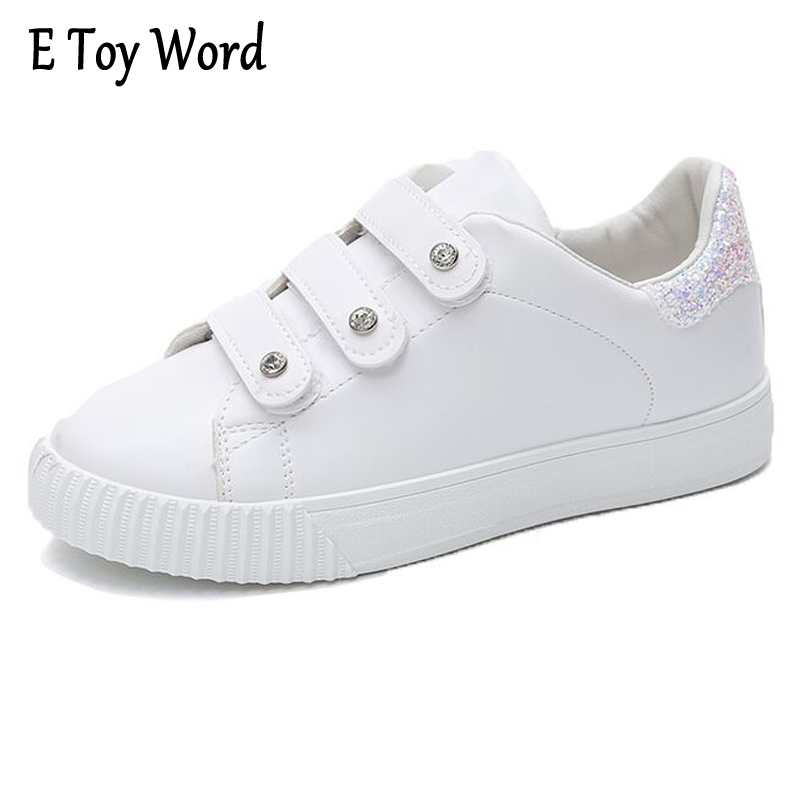 E TOY WORD Fashion New Women Casual Shoes Platform White Shoes Women Trainers Walking Skate Shoes sapatilhas mulher moda e toy word canvas shoes women han edition 2017 spring cowboy increased thick soles casual shoes female side zip jeans blue 35 40