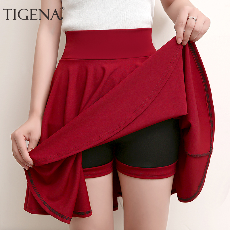 TIGENA Plus Size Mini Shorts Skirts Women 2019 Casual A-line High Waist Pleated Skirt Female School Girl Skater Skirt Black Blue