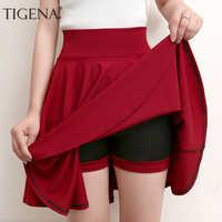 TIGENA Plus Size Mini Shorts Skirts Women 2019 Casual A-line High Waist Pleated Skirt Female School Girl Skater Skirt Black Blue