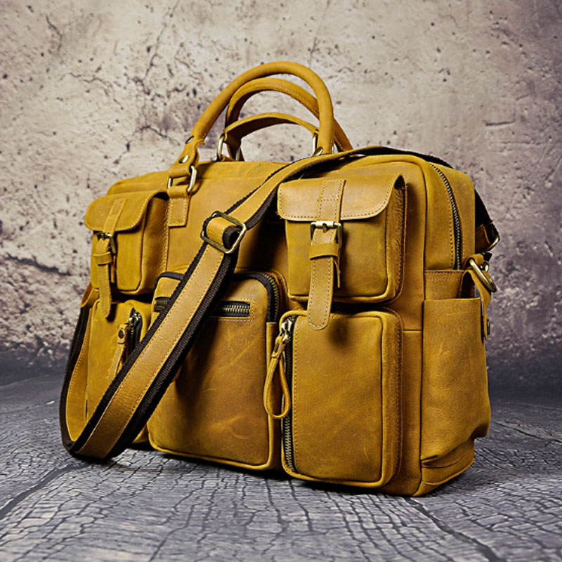 YlANG Vintage Crazy Horse Cowhide Briefcases Men Messenger Bags 15 Laptop Handbags Genuine Leather Briefcase Business Bag ylang vintage crazy horse cowhide briefcases men messenger bags 15 laptop handbags genuine leather briefcase business bag