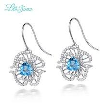 l&zuan S925 Silver Women's drop earrings 2.66ct Topaz Natural Blue Gemstones Trendy flower Fine Jewelry Gift