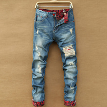Jeans Destroyed Men 2019 New Fashion Retro Ripped Jeans Slim Hole Straight Denim Trousers, Light Blue Cuffs Korean Jeans Homme
