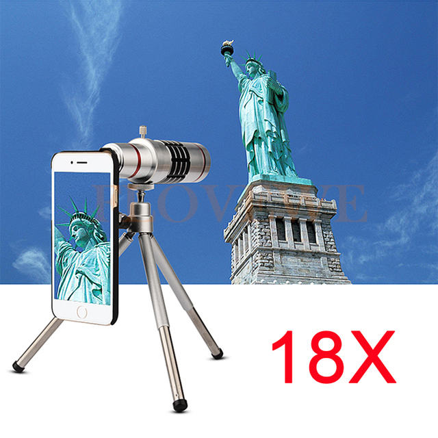 18x zoom óptico teleobjetivo telescopio del teléfono kit de lentes para samsung galaxy nota 2 3 4 5 iphone 6 6 s 7 más caso móvil trípode