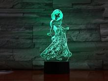 цена на Princess Jasmine Figure Usb 3d Led Night Light Decoration Girls Children Kids Baby Gifts 7 Color Changing Visual Table Lamp