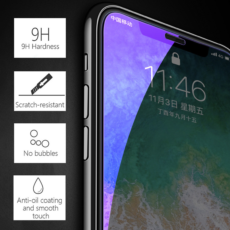 KIPX1127_3_Anti Blue Light Tempered Glass for iPhone 6 6S 7 8 Plus XS XR XS Max 9H 2.5D Protective Film