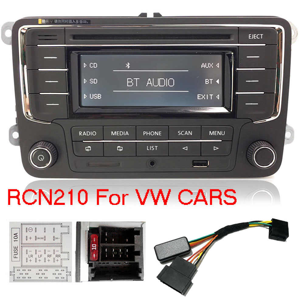 Auto Radio Stereo RCN210 + Decoder Cabel Bluetooth CD MP3 USB AUX SD voor Volkswagen Golf Passat TOURAN Polo TIGUAN caddy EOS