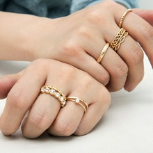 цена на rhinestone ring set bague femme rings for women knuckle ring 11pcs/set