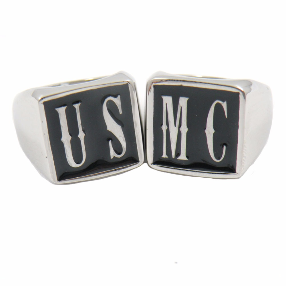 Fanssteel Stainless steel jewelry CUSTOM MADE <font><b>USMC</b></font> 2 LETTERS INITIALS alphabets NAME group <font><b>RING</b></font> Personalized Customized gift image