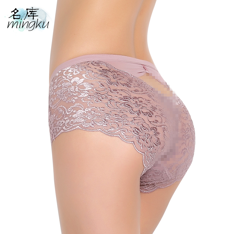 Women underwear Sexy   panties   Lace woman crotchless culotte femme knickers antibacterial fiber soft transparent cueca briefs