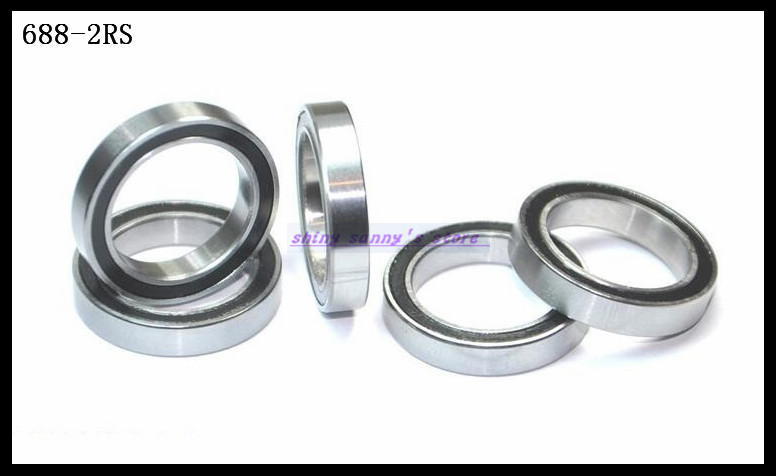 10pcs/Lot <font><b>688</b></font>-2RS <font><b>688</b></font> <font><b>RS</b></font> 8x16x5mm The Rubber Sealing Cover Thin Wall Deep Groove Ball Bearing Miniature Bearing Brand New image