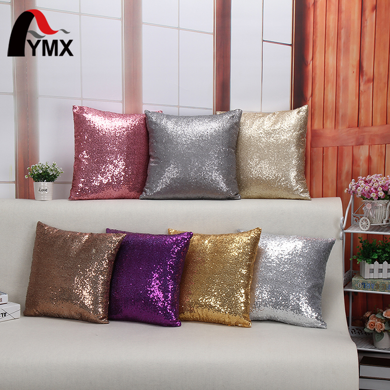 Wholesale Cushion Cover Glitter Sequin Throw Pillow Cases Cafe Cushion Covers Car Seat capa poszewki na poduszki dekoracyjne Hot ...