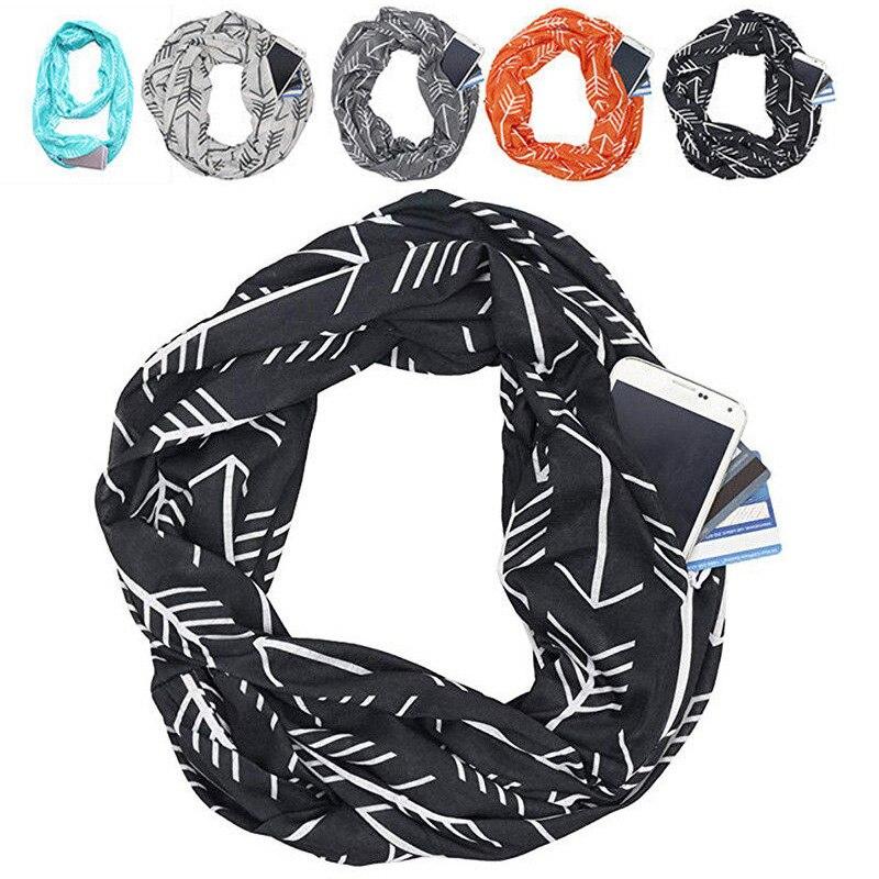 Neu Frauen Winter Cabrio Unendlichkeit Schal mit Tasche Schleife Zipper Tasche Schals