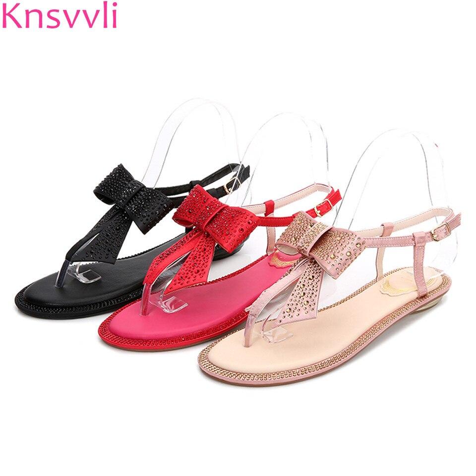 Knsvvli luxury silk bowtie flat sandals flip flop shoes crystal butterfly knot buckle strap boho women