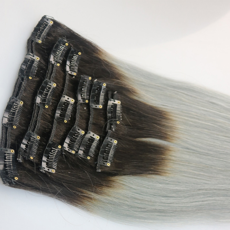 Ombre Grey Clip In Human Hair Extension Ombre Brazilian Human Hair Extension 1bgrey Ombre Clip In Hair Extensions Full Head (5)