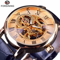 Forsining Men Watch Top Brand Luxury Transparent Roman Retro Series 3D Logo Designer Dial Mechanical Male