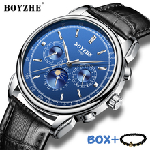 BOYZHE Men Watch Waterproof Top Brand Mechanical Watches Leather Strap Fashion Wristwatch Moon Phase Feature Business Watch Man boyzhe man s automatic mechanical watch fashion brand business watch military sport waterproof clock luminous wristwatch for man