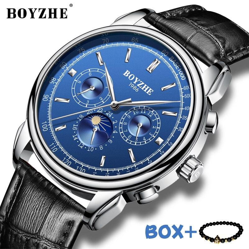 BOYZHE mężczyźni zegarek wodoodporny Top marka zegarki mechaniczne skórzany pasek mody zegarek fazy księżyca wyposażone są w Business Watch człowiek w Zegarki mechaniczne od Zegarki na  Grupa 1