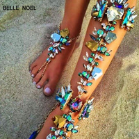 Hot Sexy Leg Chain Ankle Bracelets Sandals Beach Foot Jewelry Summer Luxury Wedding Crystal Anklets F8