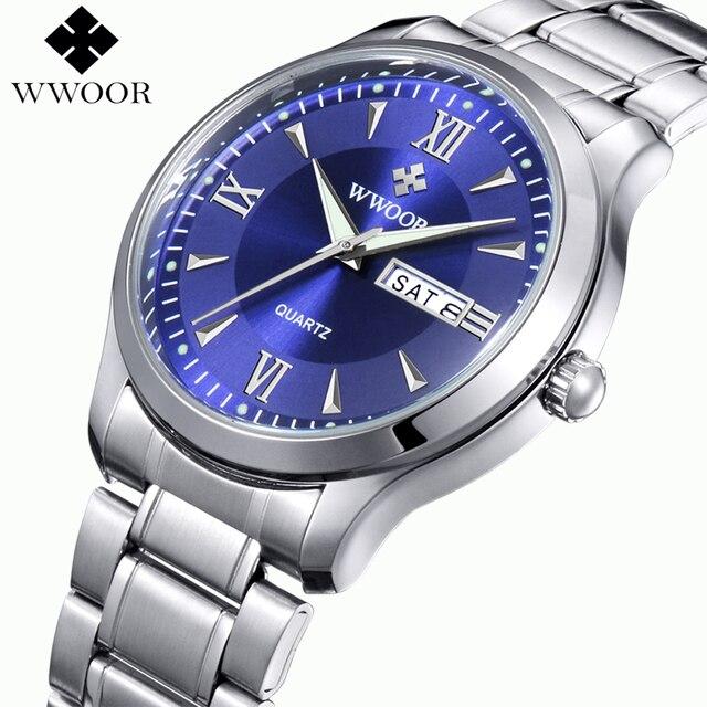 bb6c48a117d Homens Marca de topo Relógios Luminous Hour Dia Data Relógio Masculino prata  de Aço Inoxidável Relógio