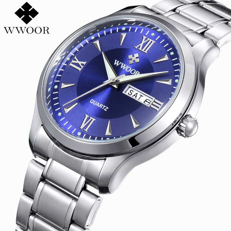 Top Brand Men Watches Luminous Hour Day Date Clock Male Silver Stainless Steel Luxury Quartz Watch Men Casual Sport Wrist Watch bailishi top luxury brand men watches diamonds hour stainless steel sports wrist watch male causal quartz male watch waterproof