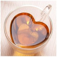Double wall tea cup Heat resisting Creative heart shaped double glass /glass tea cups juice mug milk coffee cup 1pc nice gift|Transparent| |  -