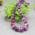 Hot Artesanía Purple Cadena Torre Collar Semi-precious Stones Riverstones Lluvia Flor Jaspe Del Arco Iris 6-14mm Joyería fabricación de 15 pulgadas