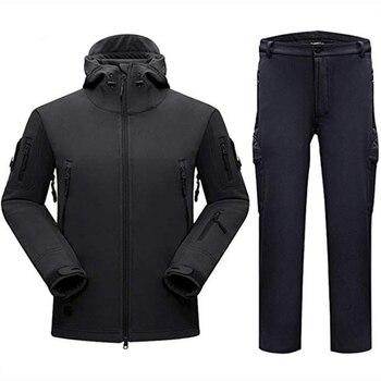 3e0b08ea3 Caza táctico trajes poco Softshell chaqueta al aire libre de los hombres de  camuflaje con capucha conjunto de ropa militar senderismo deporte chaqueta  + ...
