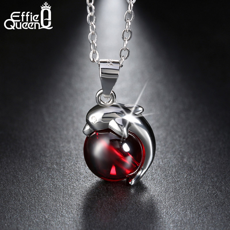 Effie Queen 925 Sterling Silver Lovely Red Stone Dolphin Animal Pendants Necklace for Women Fine Jewelry BN02