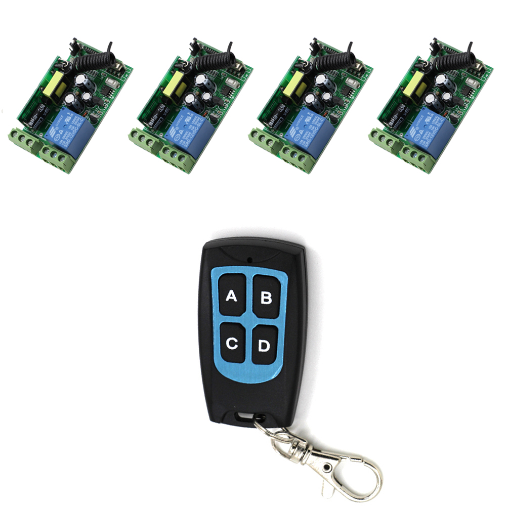 Good Quality 85V 110V 120V 220V 250V AC 1CH 10A RF Wireless Remote Control Switch System 4 *Receiver +1 * Transmitter Waterproof ac 85v 250v 1ch rf wireless remote control switch system 1 transmitters