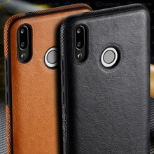 For Huawei Y9 2019 Case Luxury Vintage PU Leather Thin Back Cover Shockproof