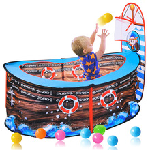 купить Baby Pirate Ship Tent Kids Ball Pits Portable Pool Foldable Play House Infant Pool Balls With Basket Outdoor Toy For Children дешево