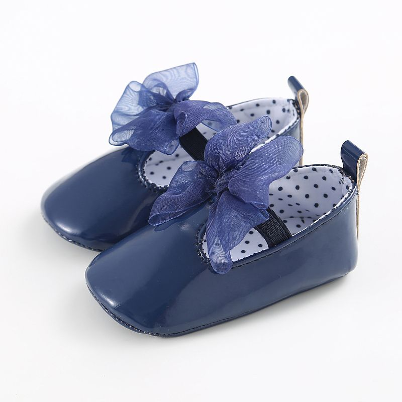 Autumn Spring Newborn Baby Girls First Walkers Bowknot Anti-skid Toddler Kids Girl Cack Slip On Shallow Shoes