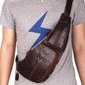 Alta qualidade couro genuíno real do couro bolsa de homens mensageiro chifre de um ombro corpo cruz saco de viagem masculino mochila back pack