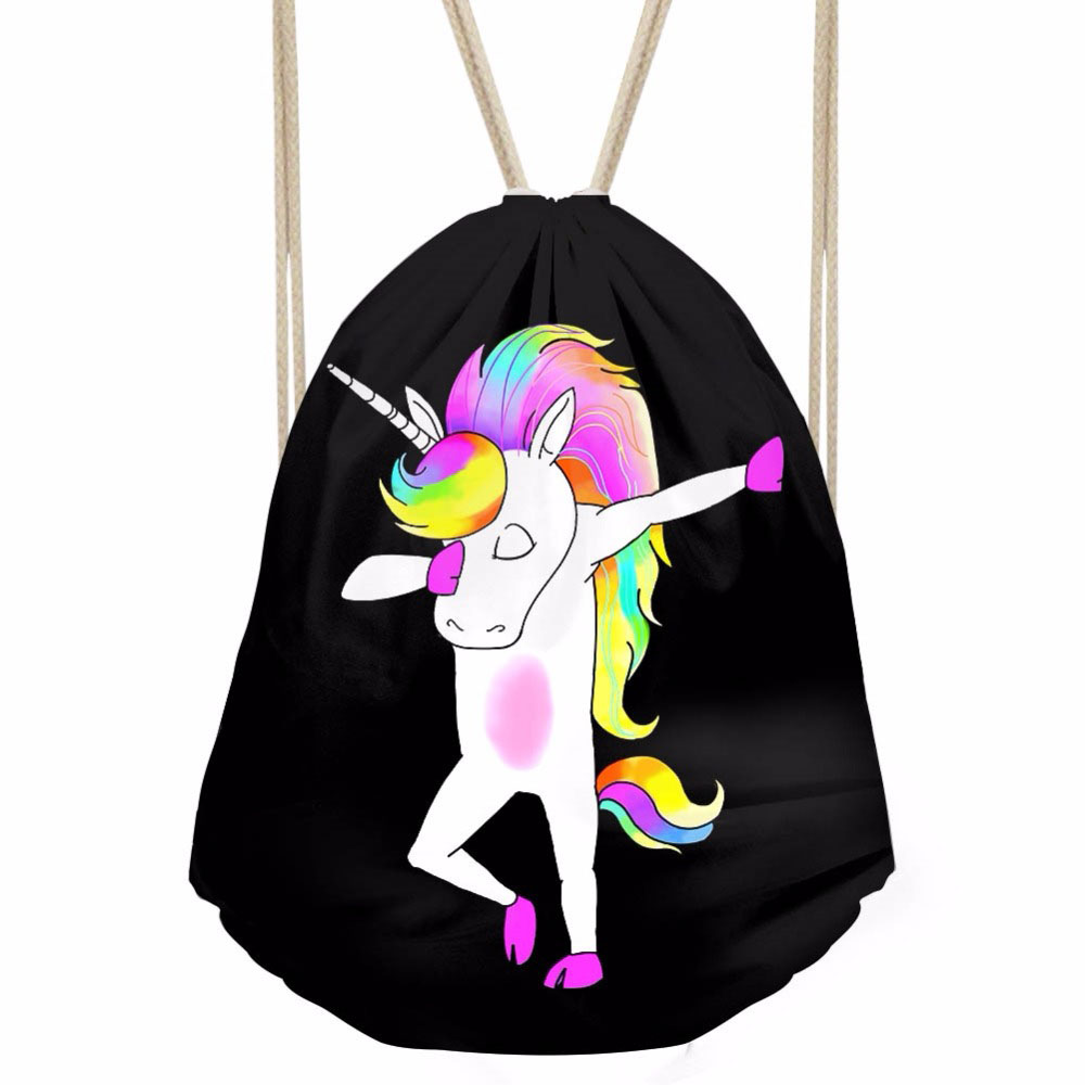 ThiKin Funny Colorful Cartoon Unicorn Panda Dabbing Print Women Men Drawstrings Bags Softback Storage Bags Beach
