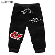 Lacontrie Anime Naruto Akatsuki Casual Short Pants Summer Sweat Pockets Cartoon Cosplay Jogger Fitness Knee Length Trousers