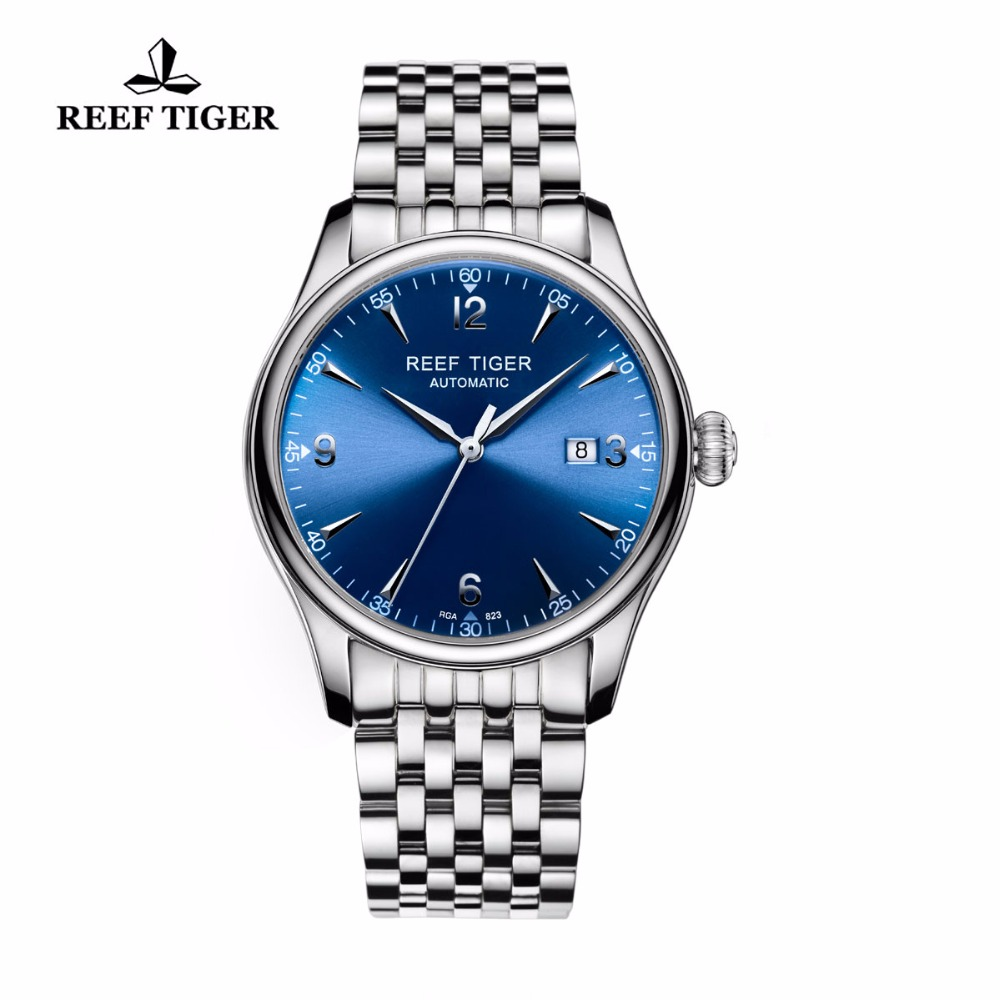 Reef Tiger/RT Designer Casual Watches Automatic Business Watches for Men Stainless Steel Watches with Date RGA823 reef tiger rt business men watch with date stainless steel leather strap waterproof mechanical watches rga823