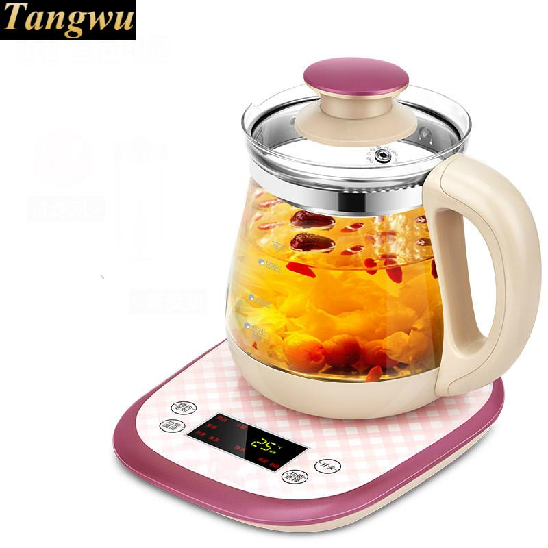 Full automatic and thickened glass multi-purpose tea pot boiling pot, black multi function miniature health pot full automatic flower fruit tea boiling water and medicine