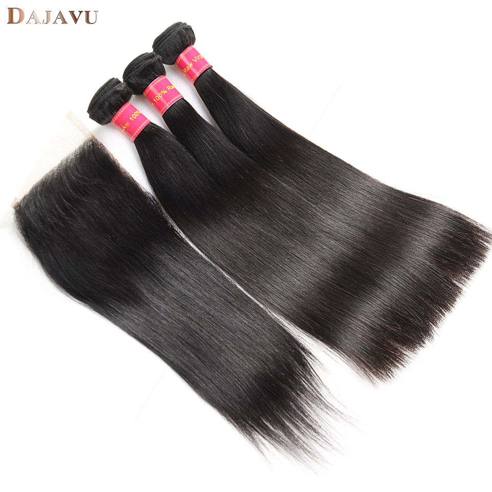 Dejavu Peruvian Straight Hair 3 Bundles With Closure Free Part Human Hair Bundles with Closure Natural Color Non Remy Hair
