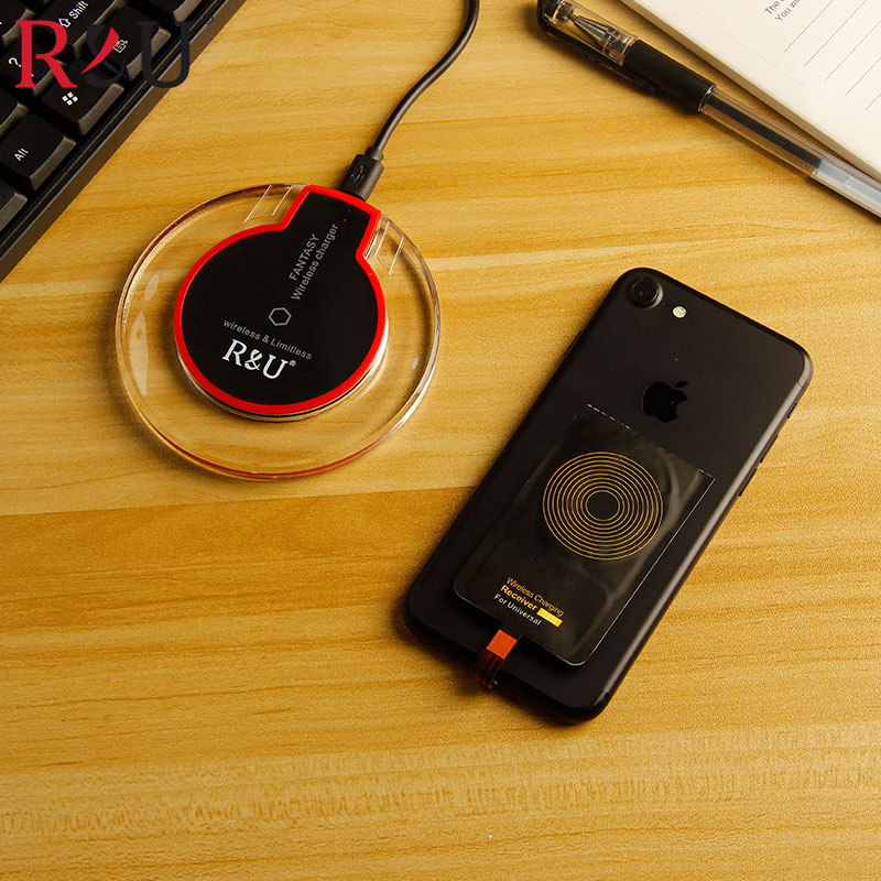 R&U Transparent Qi Wireless Charger plate+Receive for samsung c9 pro c5 pro c7 pro sony Xperia XZ Premium Xperia XZs Xperia XA1