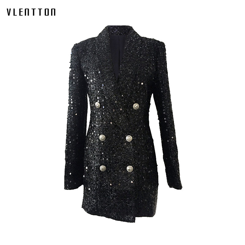 Long Blazer Women  2019 New Spring Autumn Double Breasted Women's Jacket Coat Elegant Office Lady Long Sleeve Sequin Blazer