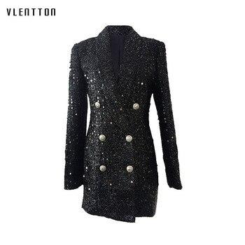 Long Blazer Women  2019 New Spring Autumn Double Breasted Womens Jacket Coat Elegant Office Lady Sleeve Sequin