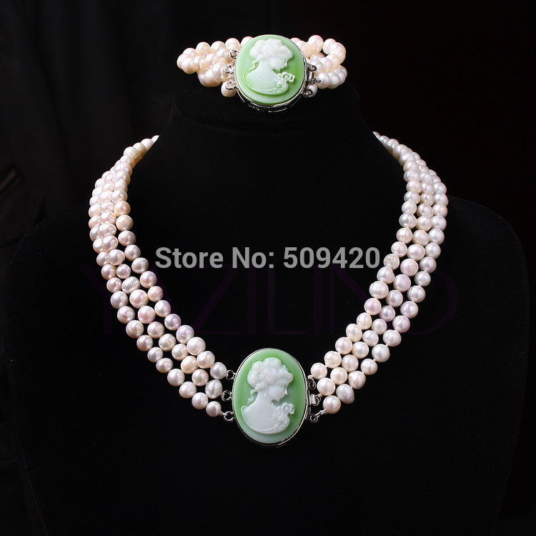 Free Shipping >>>>7 8mm women handmade carved queen portrait pendant fresh water 8mm pearls necklace set